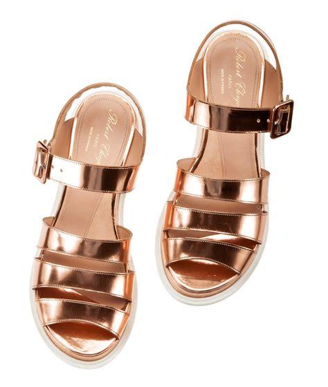 Sandal Flat Serut 3 Warna robert clergerie corson metallic leather chunky slingback flat sandals fratelli