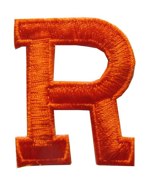 """Letters-Orange Letter """"R"""" Embroidery Iron On Applique ... R"""