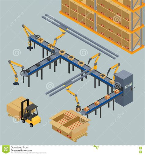 design manufacturing line automatic belt conveyor stock vector image of design