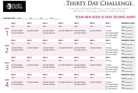 pilates 30 day challenge would you like a new in 30 days take the studio