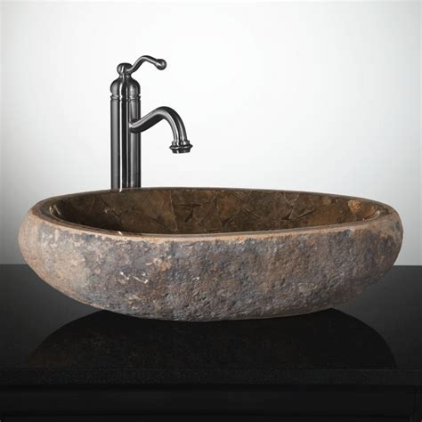 stone vessel bathroom sinks mosaic natural river stone vessel sink brown onyx bathroom