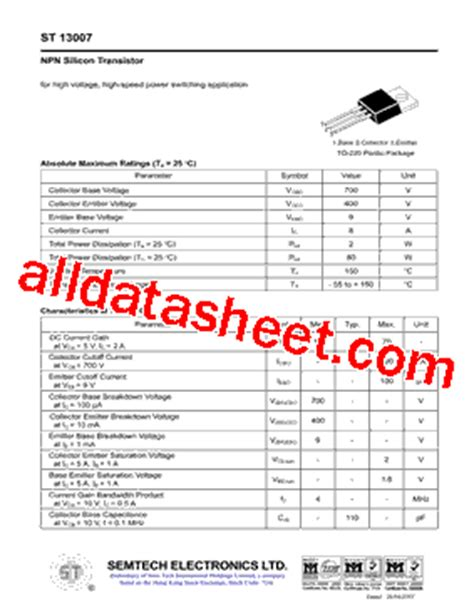 transistor e13007 datasheet pdf equivalent transistor e13007 2 images st 13007 datasheet pdf semtech electronics ltd