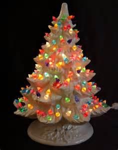 nowell white ceramic lighted christmas tree multi color