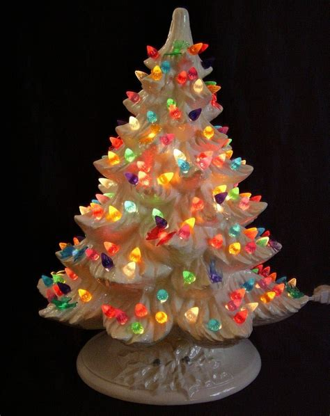 nowell white ceramic lighted christmas tree multi color