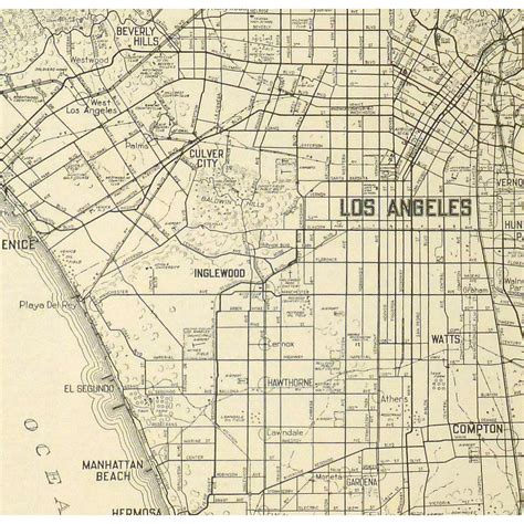 vintage ls los angeles map los angeles 1939 original art antique maps prints