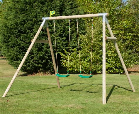 tp swing frame tp toys knightswood double roundwood swing frame set
