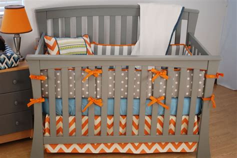 orange baby bedding orange chevron crib bedding with grey and aqua fabrics