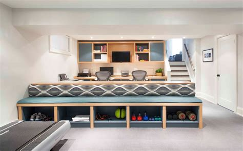 Modern Built In Desk Modern Design Ideas Basement Contemporary With Home Office Duty Room Built In Bench