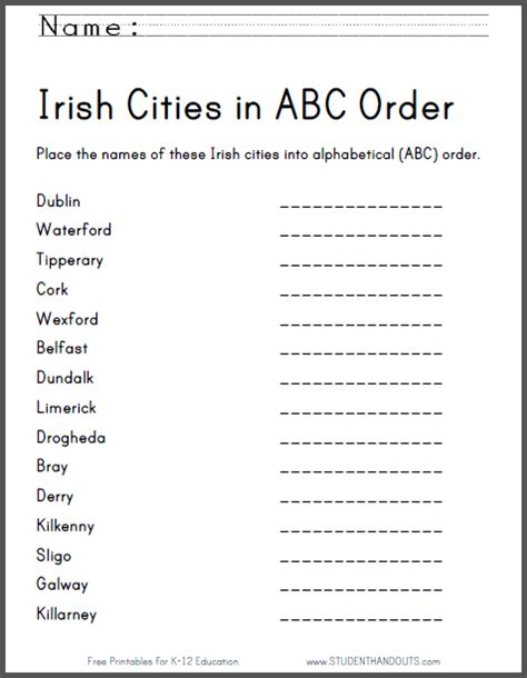 printable abc order games irish cities in abc order worksheet free printable ela