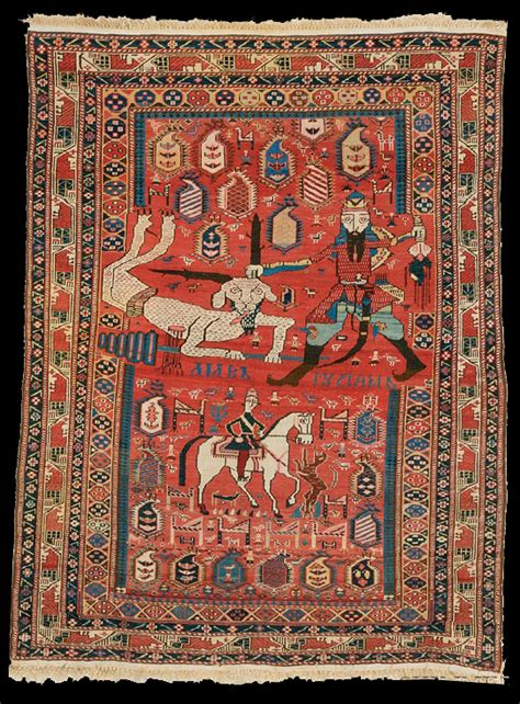 pictorial rug quot rustam kills the white div quot shirvan pictorial rug