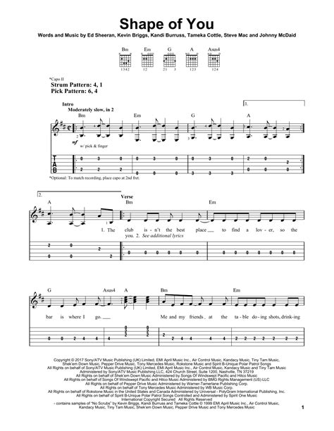 ed sheeran easy chords shape of you by ed sheeran easy guitar tab guitar