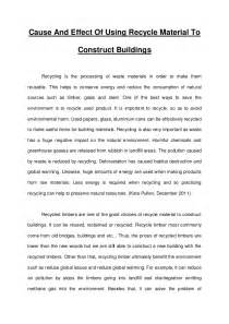 Is Essay by Essay Recycle Product To Construct Buildings