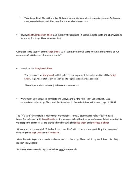 tv commercial script template commercial out