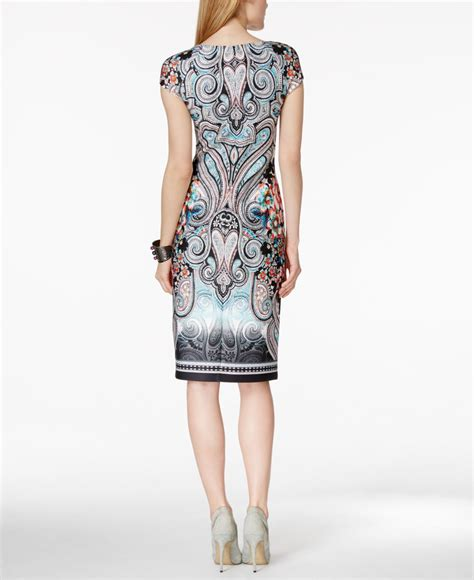Printed Sleeve Sheath Dress lyst eci cap sleeve printed sheath dress in blue