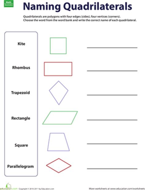 3rd Grade Geometry Worksheets by Naming Quadrilaterals Worksheet Education