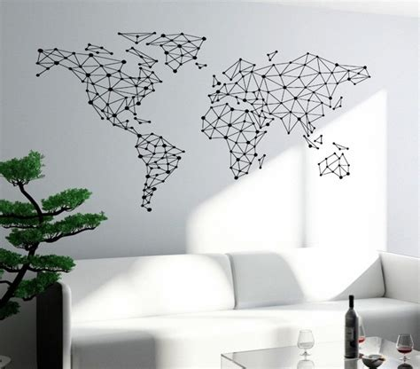 map of the world stickers for walls free shipping wall sticker special world map geometric