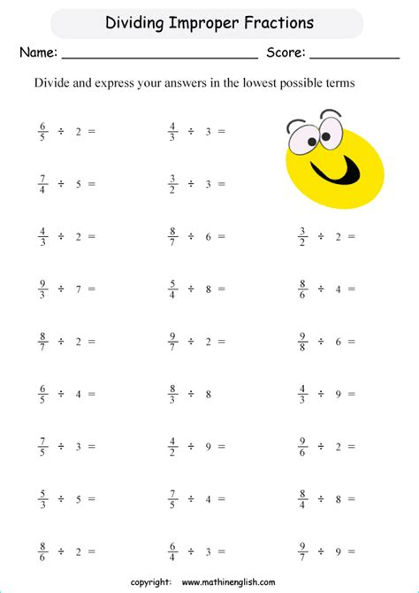 Fractions Grade 5 Worksheets by Improper Fractions Grade 5 Worksheets Divide Improper