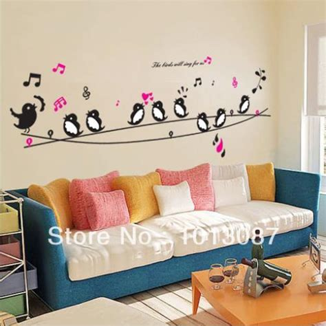 child bedroom wall decorations sticker carbon picture more detailed picture about birds singing music diy wall