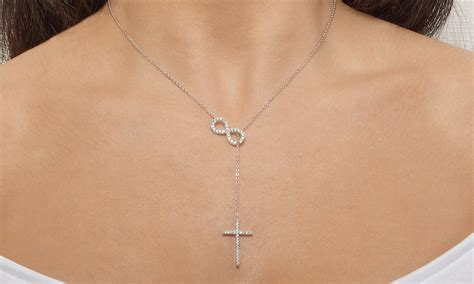 infinity is made by cross y necklace in sterling silver made with swarovski