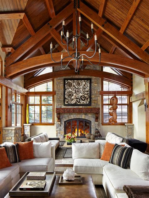 Rustic Luxe Living Room by Exposed Beams Living Design Ideas Pictures Remodel Decor