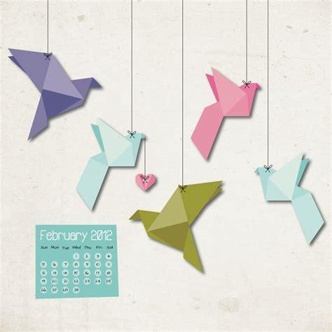Origami Paper Birds - freebie february 2012 desktop calendar