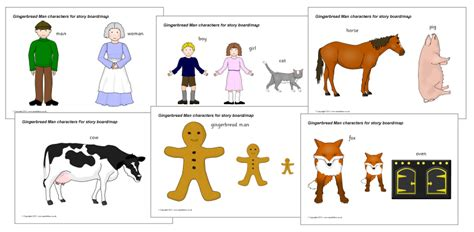 printable gingerbread man characters classroom for the little the gingerbread man