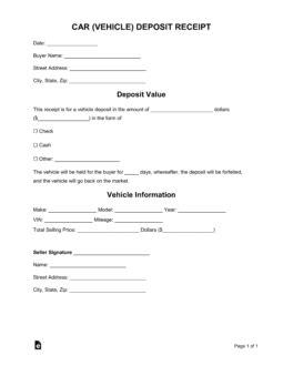car vehicle purchase deposit receipt template