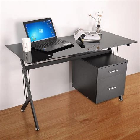 black glass computer desk black glass top computer desk workstation w 2 drawers