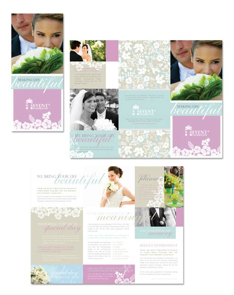 wedding brochures templates free wedding event planning tri fold brochure template