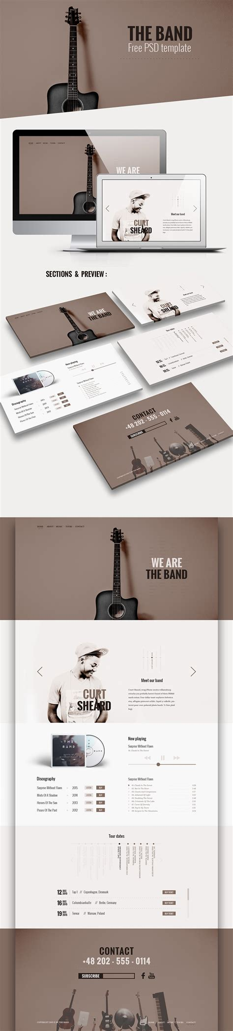 music band website template free psd at downloadfreepsd com