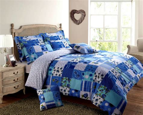 Blue Patchwork Duvet Cover - blue turquoise colour patchwork design reversible