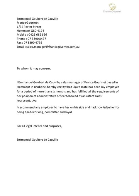 Recommendation Letter Template Sle Letter Of Recommendation Gourmet Sales Manager