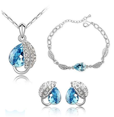 Anting Dewasa Elegan Earring Biru aliexpress beli elegan emas putih austria danau biru penurunan kaca kalung