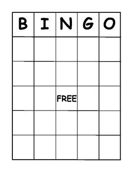 Bingo Card Template 5x5 by Bingo Board Template Pdf By J Gibb Teachers Pay Teachers