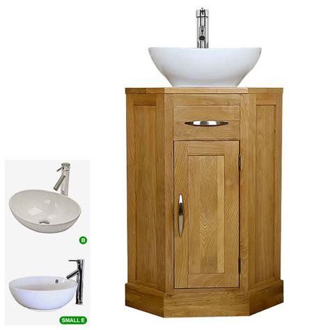 corner wash sink oak bathroom vanity unit cloakroom corner wash stand
