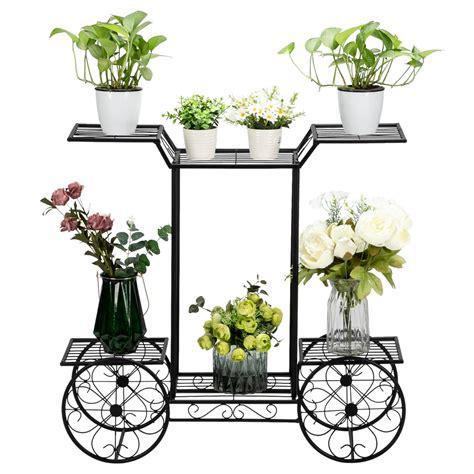 tiers garden cart stand flower potplant holder display