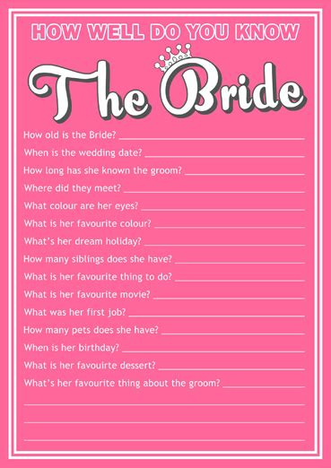 how well do you know the bride quiz free template