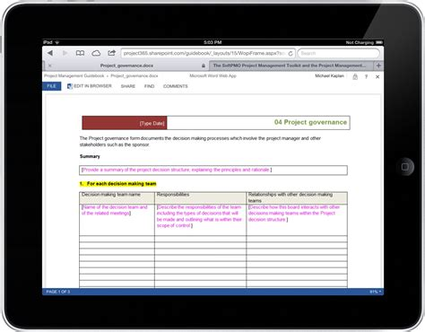 project governance template the softpmo project management toolkit and the project