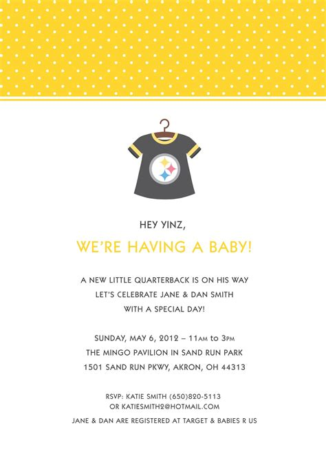 Steelers Baby Shower Ideas by Steelers Baby Shower Www Paperheartsinvites Etsy