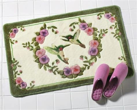 Bath Flower Green hummingbird bathroom accent rug w purple pink flowers