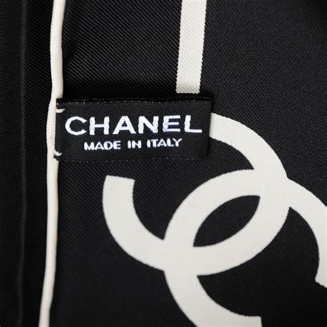 Chanel Stripe chanel silk cc logo stripe scarf black white 152901