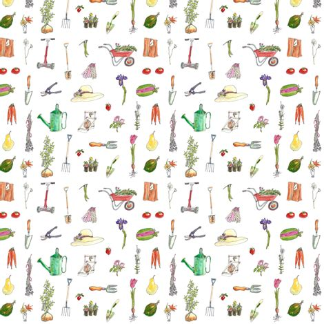 fabric pattern tools garden tools garden pleasures katygilmore spoonflower