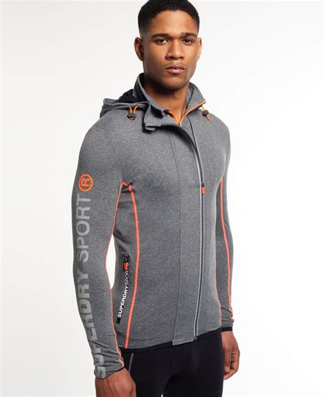 Superdry Sporttas new mens superdry sport runner panel zip hoodie grey grit ebay