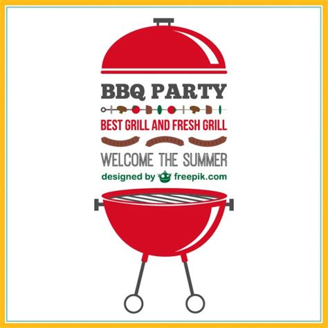 barbecue party vector invitation vector free vector