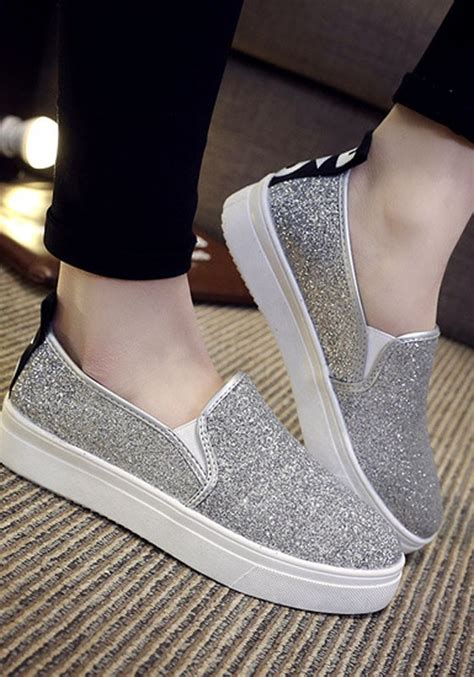 silver sequin flat shoes silver toe flat sequin casual shoes flats shoes