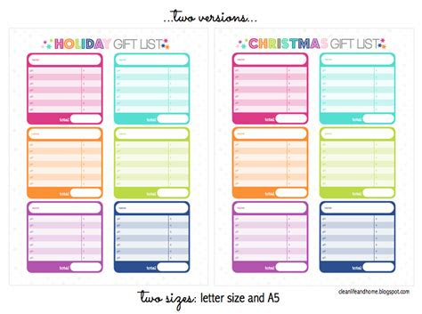 printable band organizer clean life and home freebie christmas holiday gift