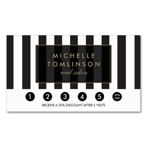 black and white stripes salon loyalty card double sided