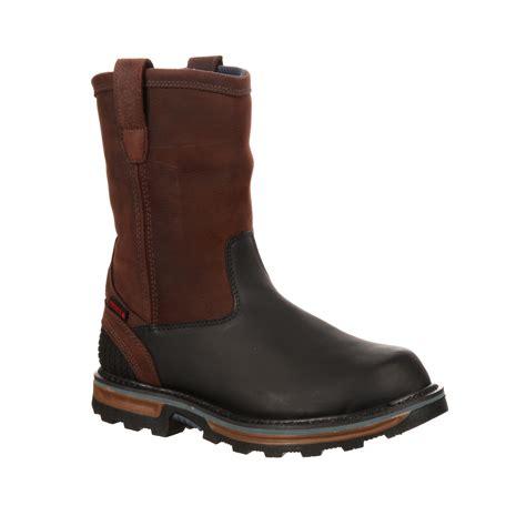 pull on boots rocky elements block waterproof pullon wellington work