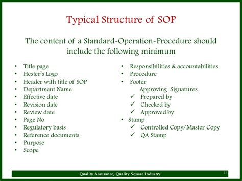 warehouse standard operating procedures template sop