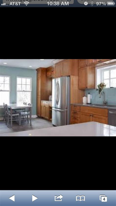 Updated Kitchens With Oak Cabinets Blue Gray Walls And Oak Cabinets Kitchen Aid